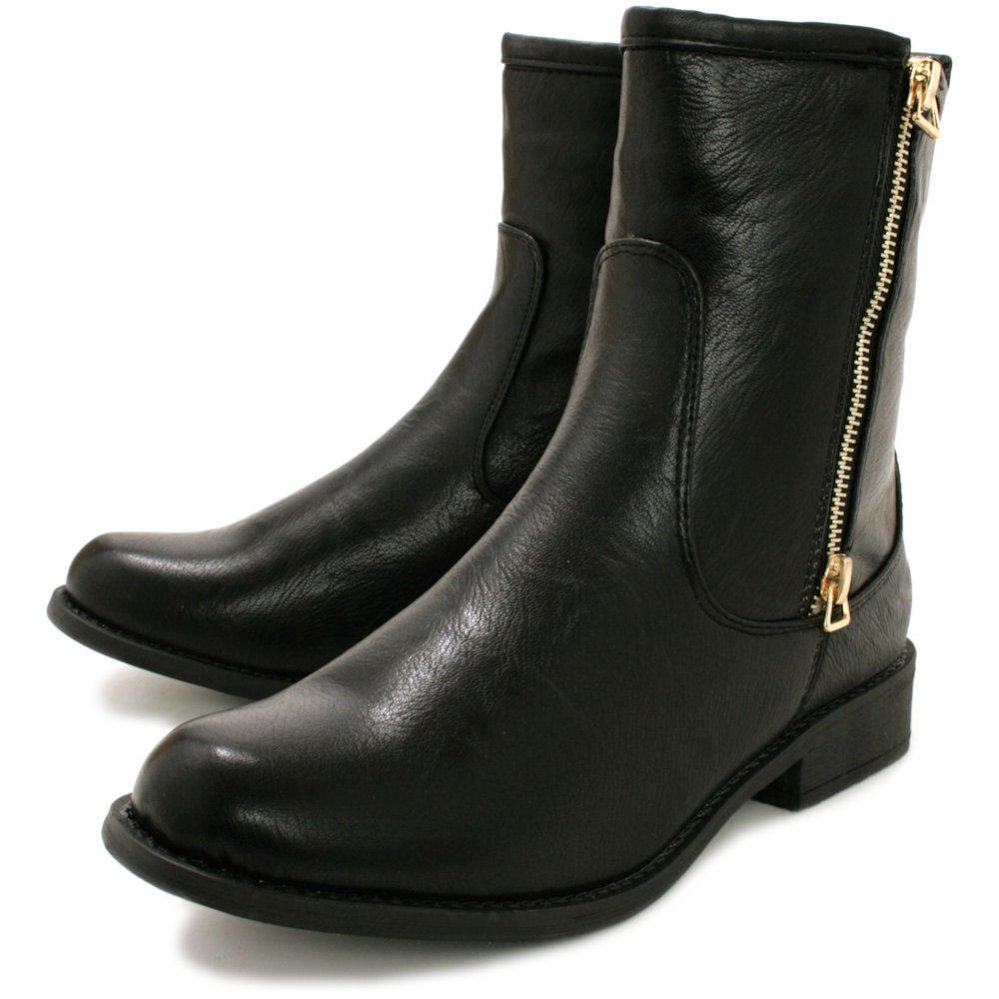 Black Flat Ankle Boots LnOTXASs