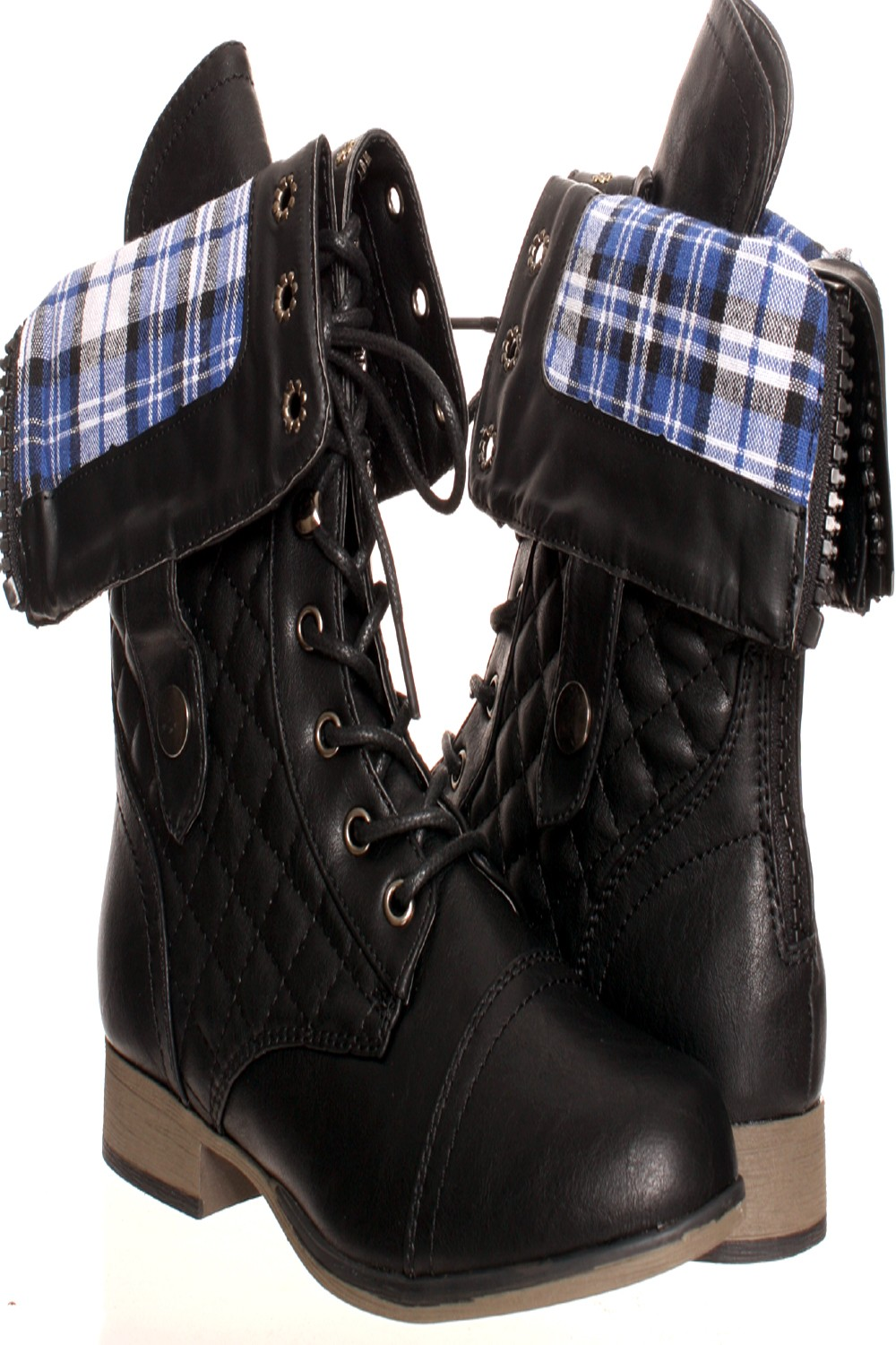 Black Fold Over Combat Boots dFzXfEuw