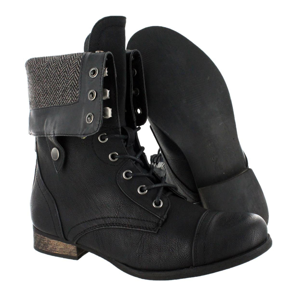 Black Fold Over Combat Boots zzM1K08Q