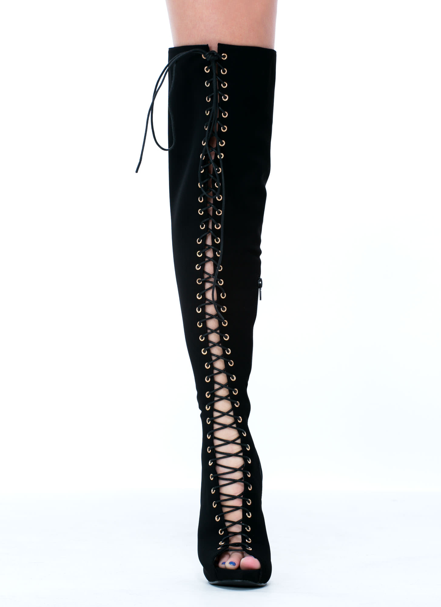 Black Lace Up Thigh High Boots nvPpThj5