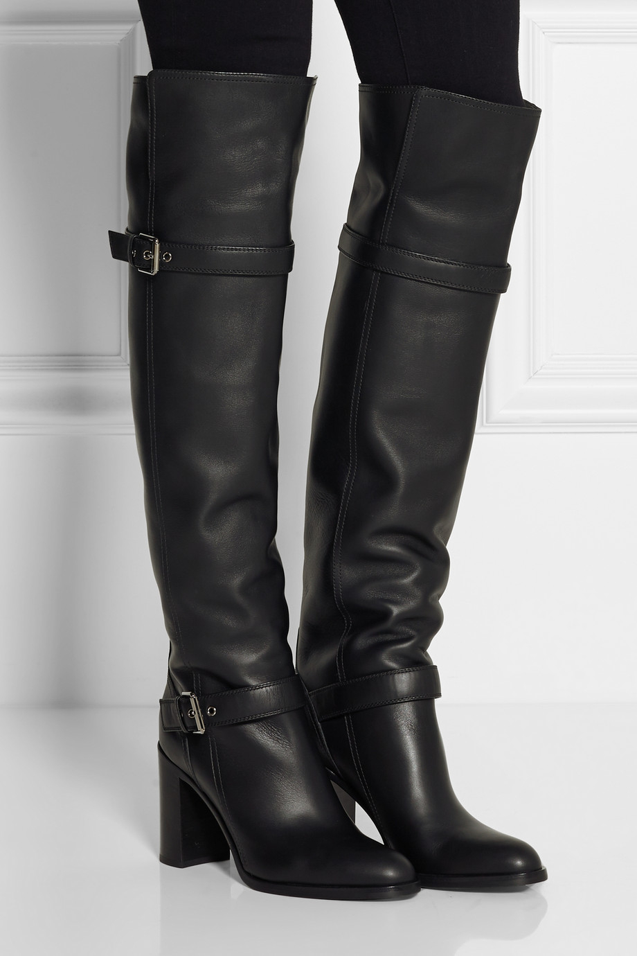 Black Leather Over The Knee Boots S7Uo0710