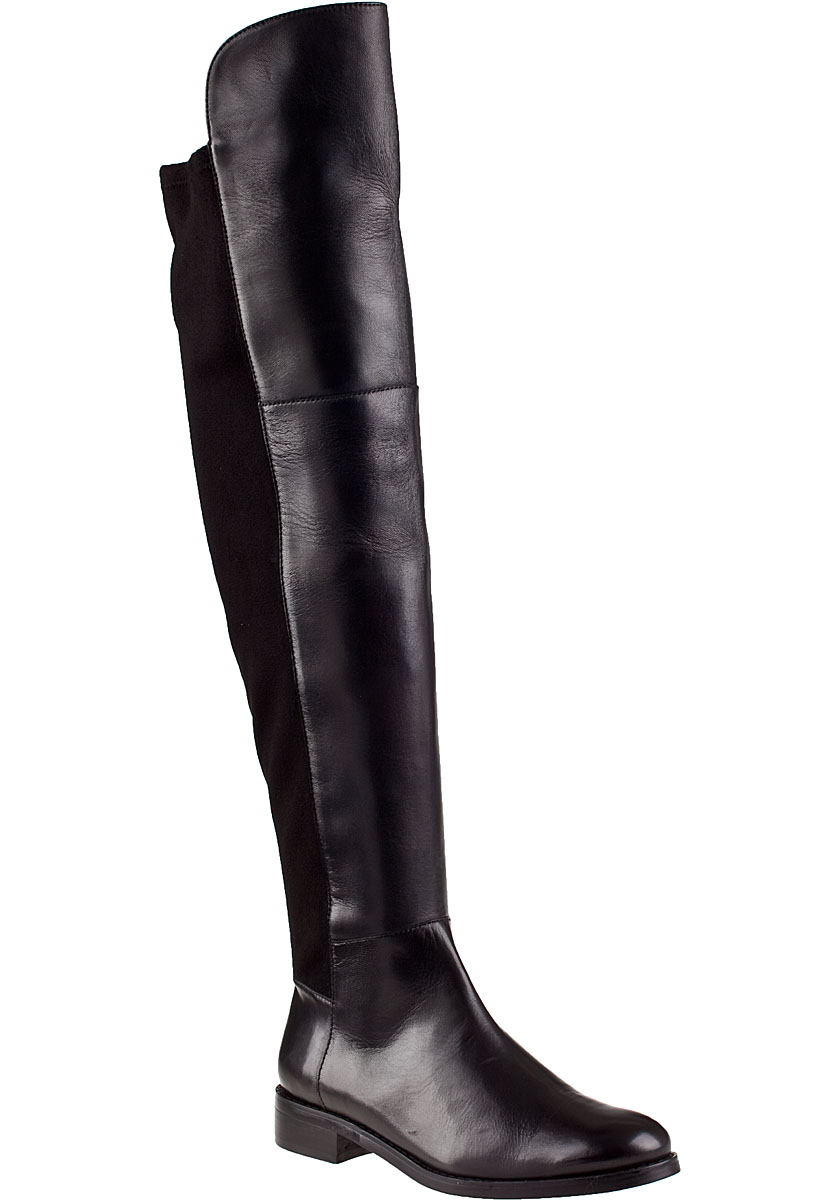 Black Leather Over The Knee Boots 2EoSzb1o