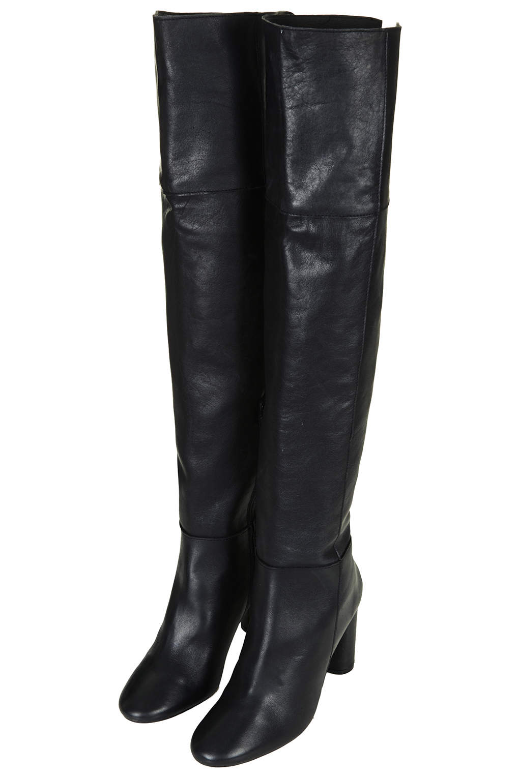 Black Leather Over The Knee Boots NupYMlwt