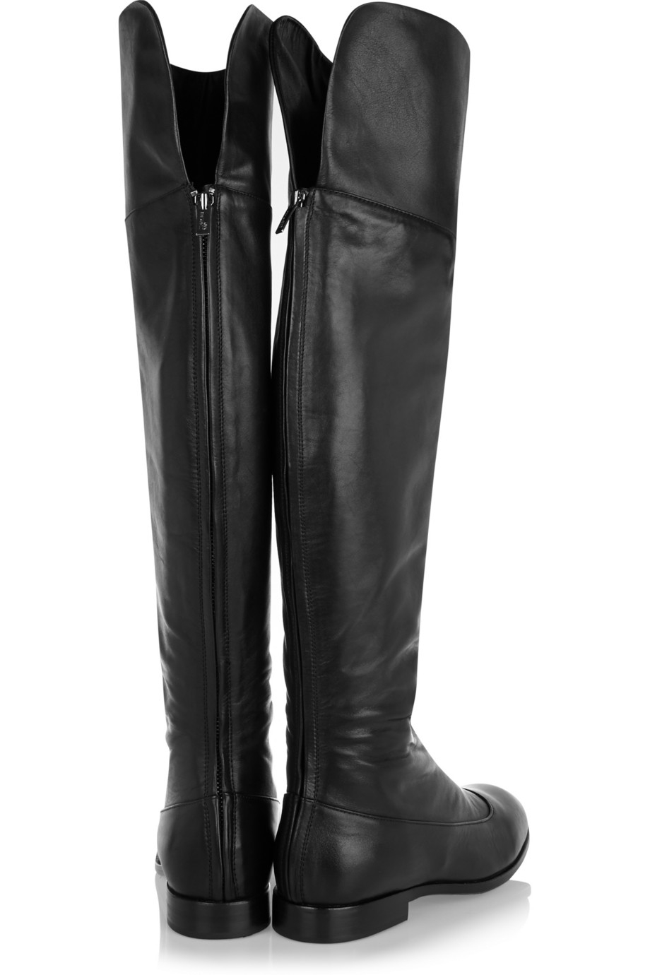 Black Leather Over The Knee Boots YFzCiSD7