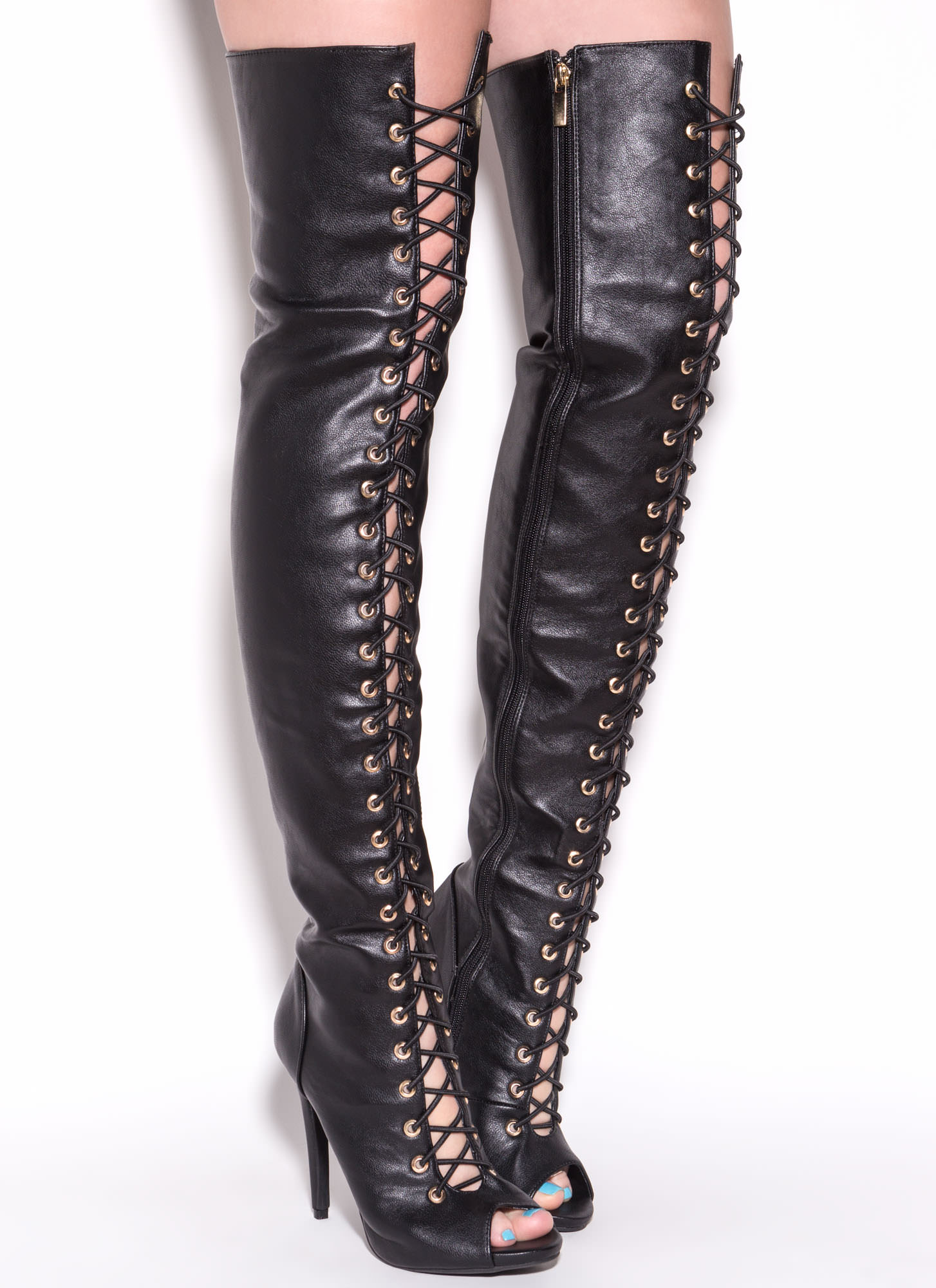 Black Leather Thigh High Boots iWZJPgcS