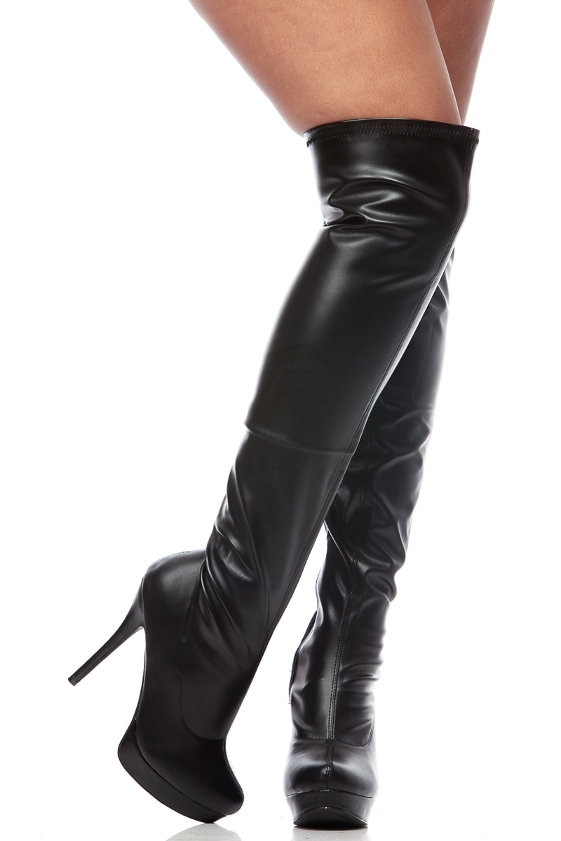 Black Leather Thigh High Boots UPssgQFq