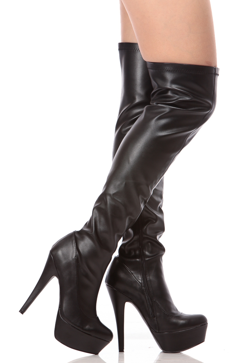 Black Leather Thigh High Boots BUIKCvfc