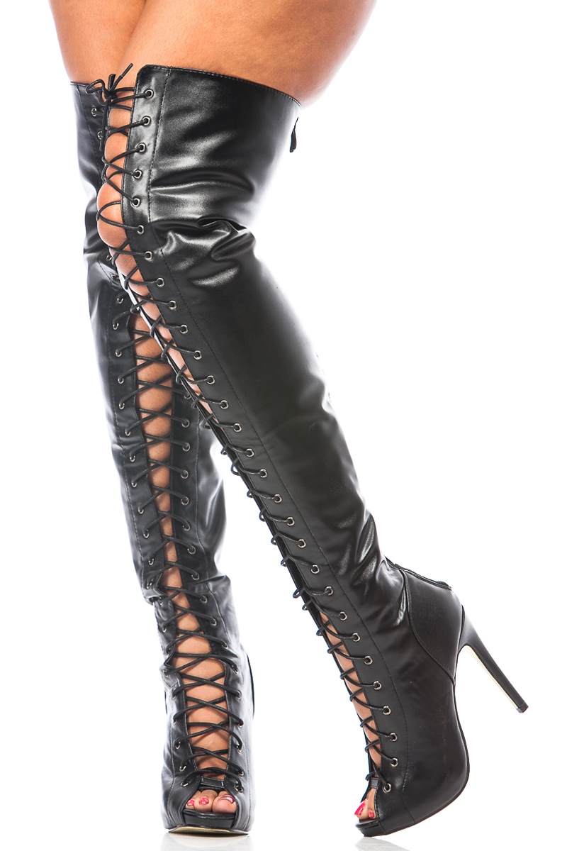 Black Leather Thigh High Boots xse7g0JE