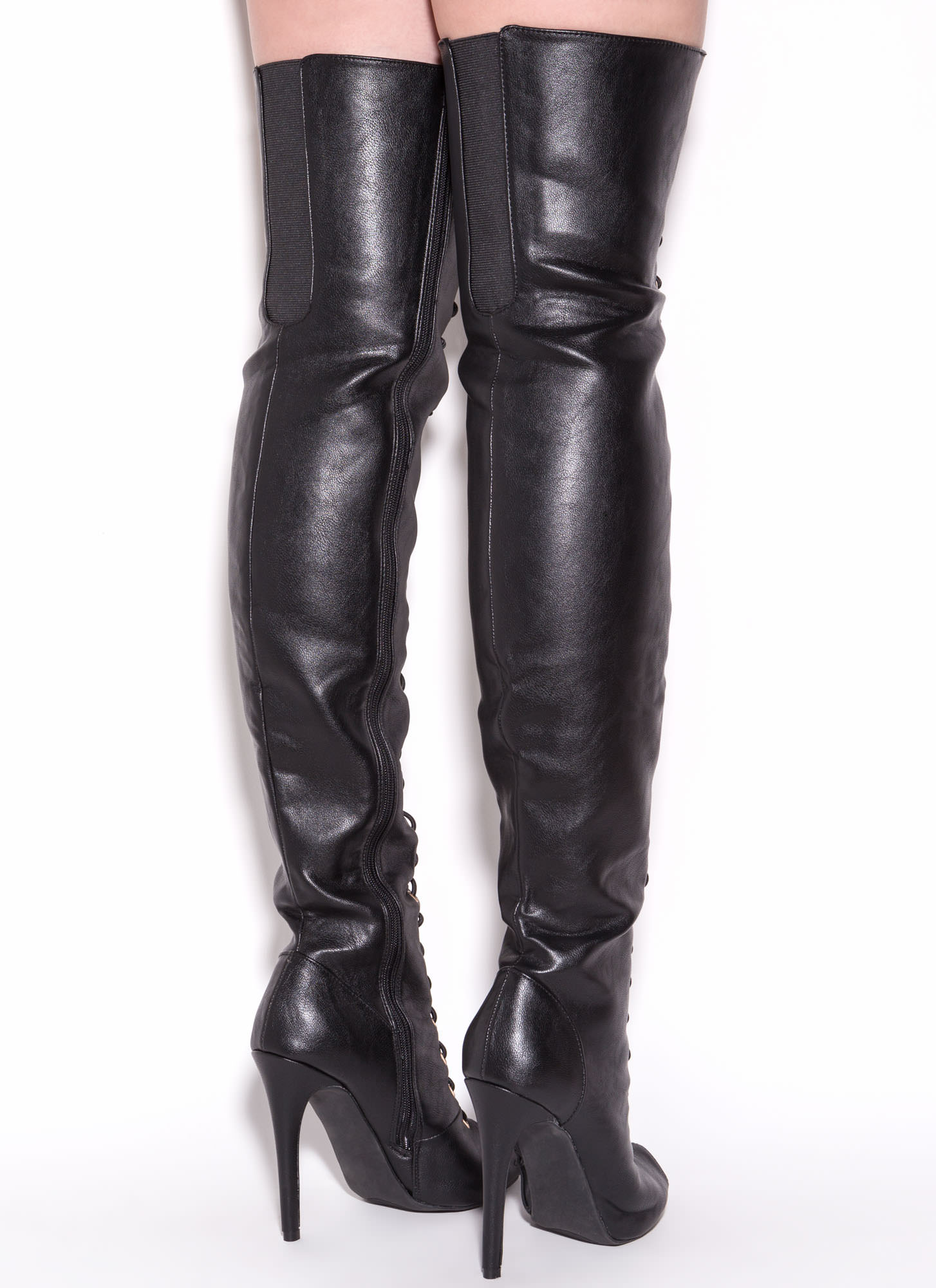 Black Leather Thigh High Boots BLhkihZn