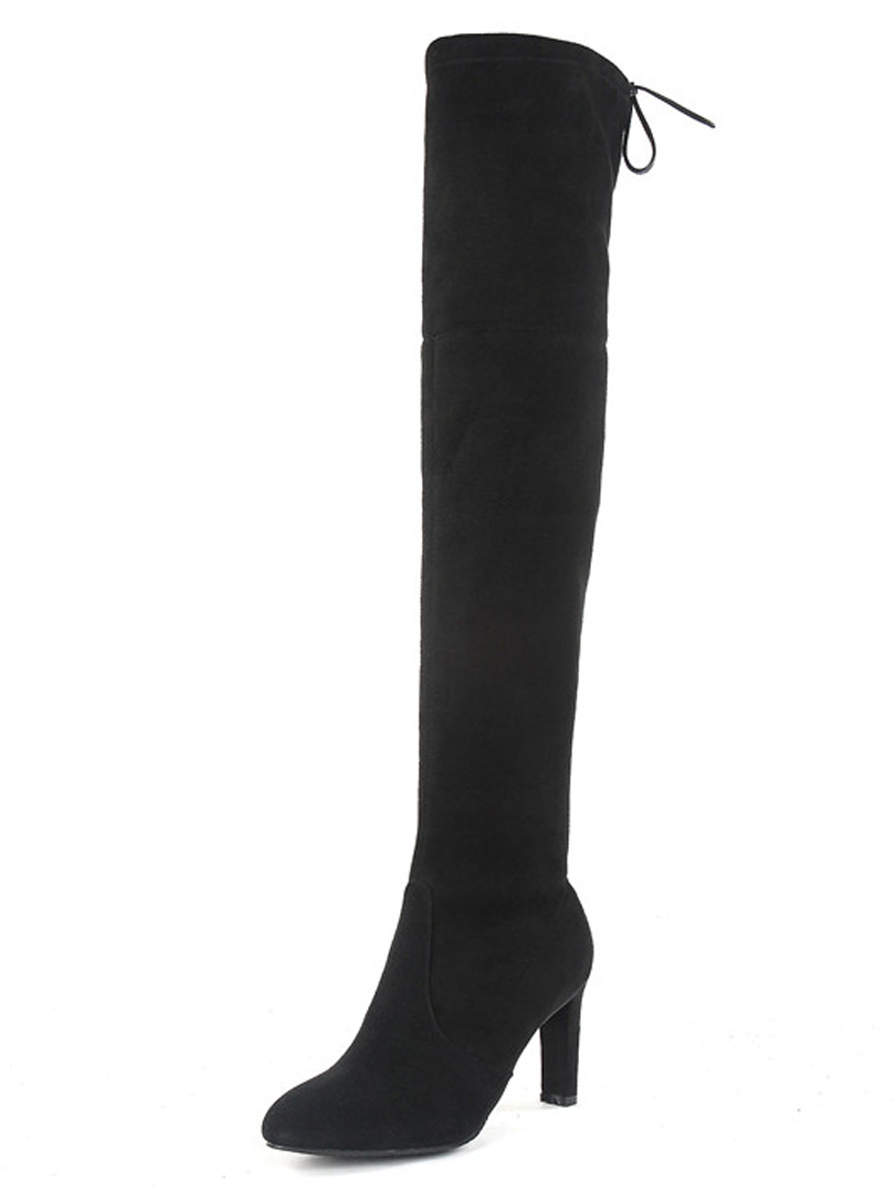 Black Over The Knee Suede Boots lmSERWpw