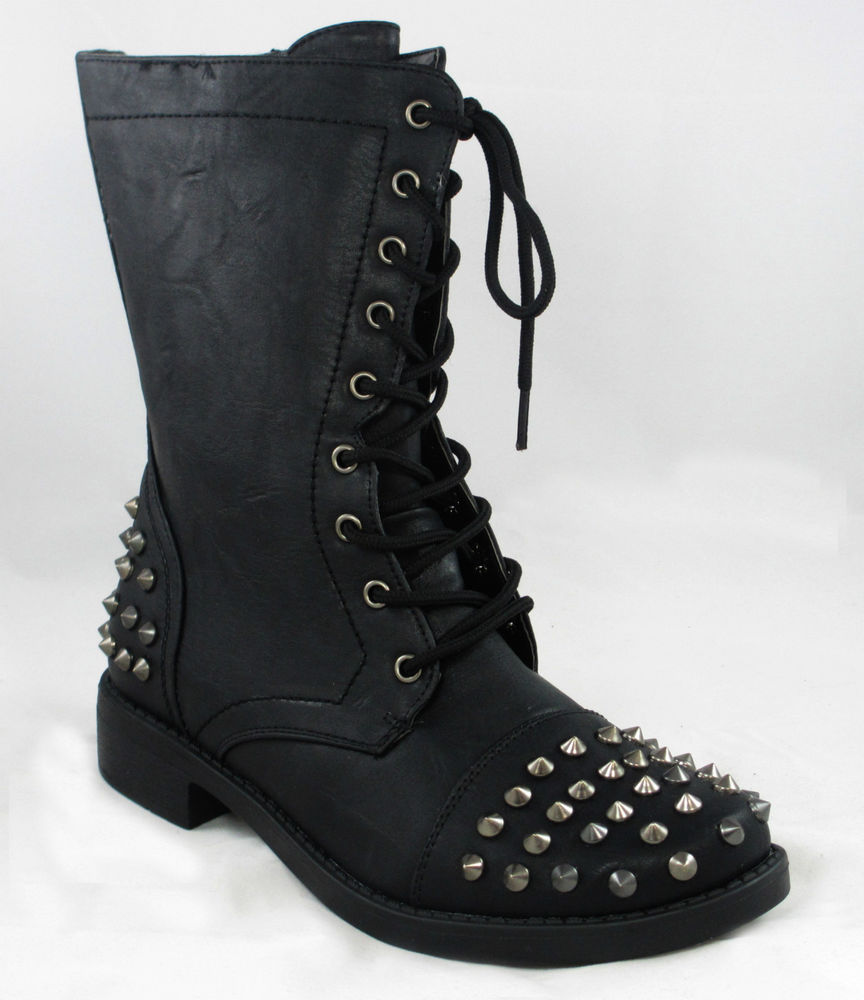 Black Studded Combat Boots TcMQ2at4