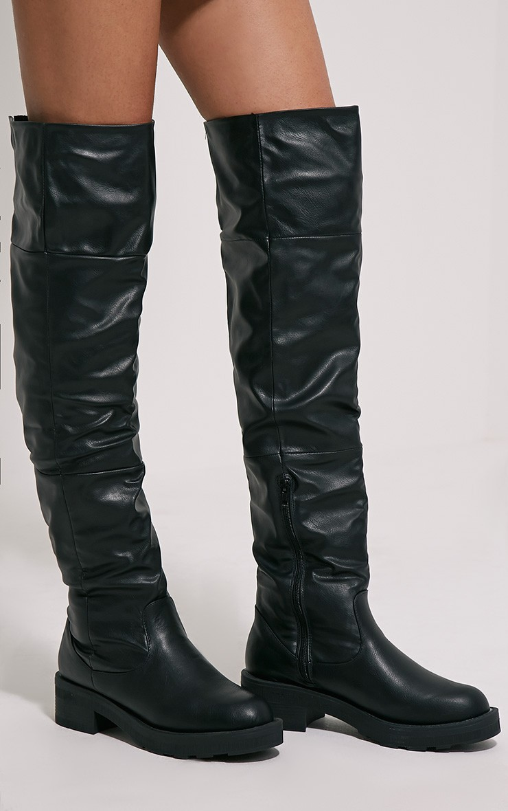 Black Thigh High Flat Boots ToBDOBS7