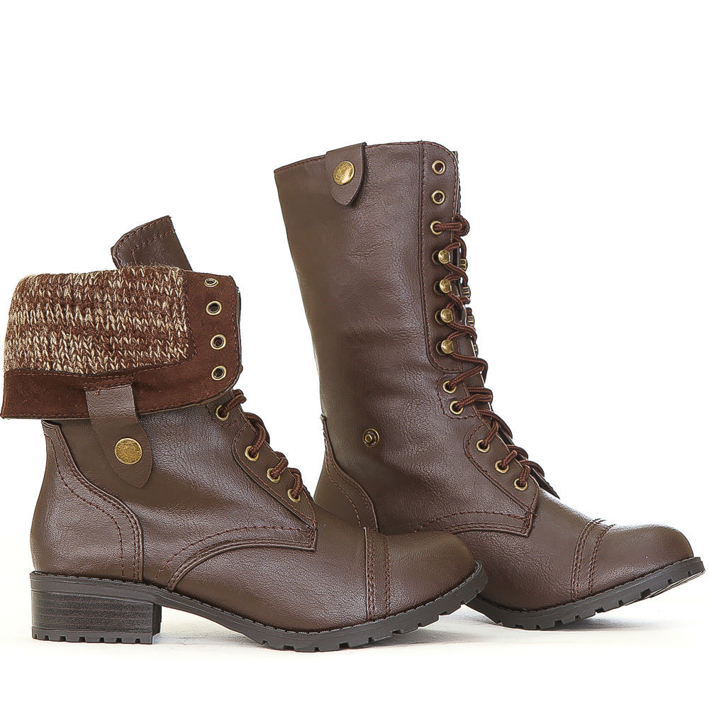 Brown Fold Over Combat Boots ph9rIi8q