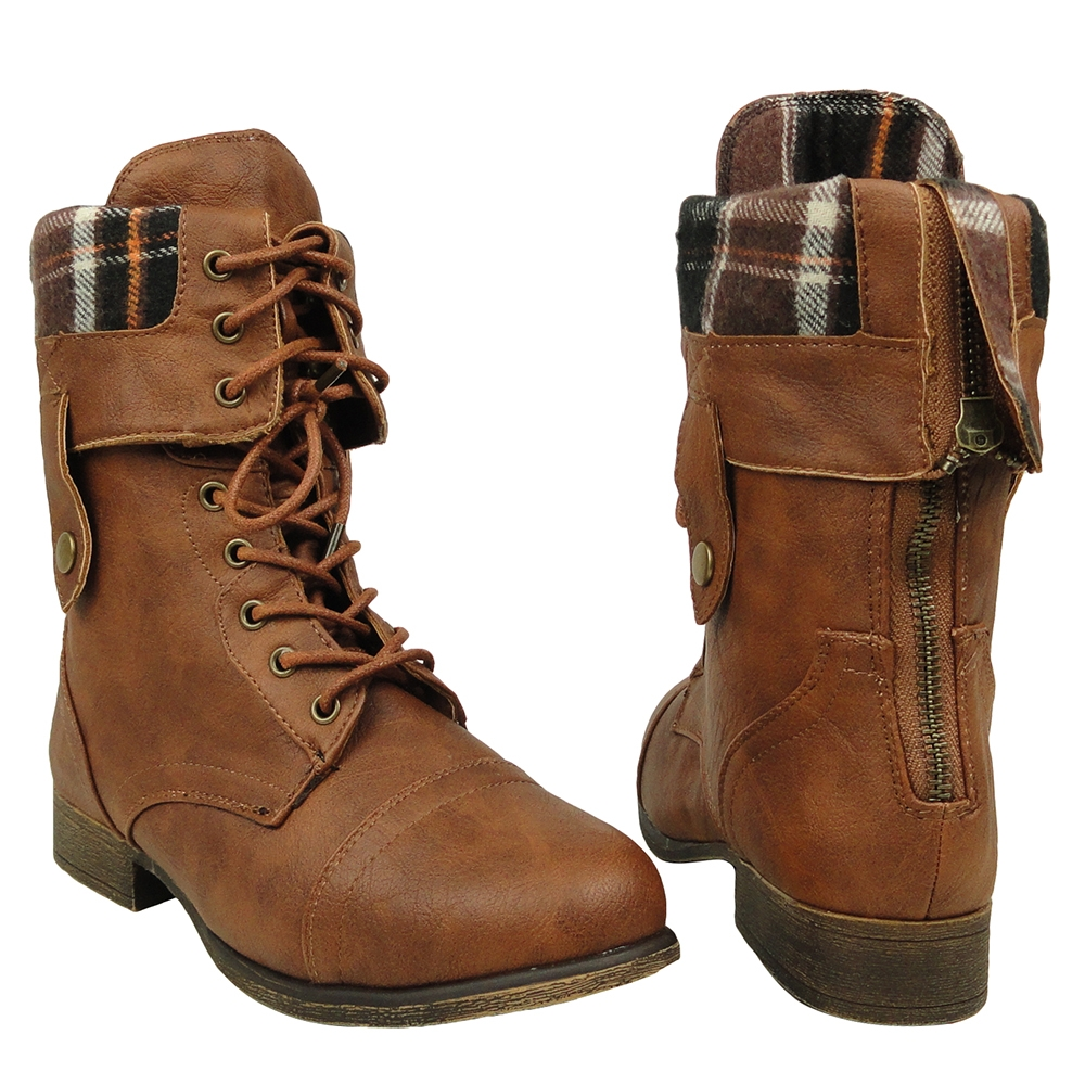Brown Fold Over Combat Boots PXFPlNAR