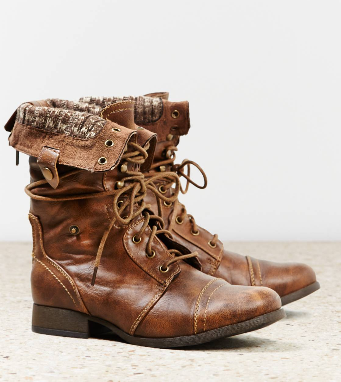 Brown Fold Over Combat Boots ldkCYuG2