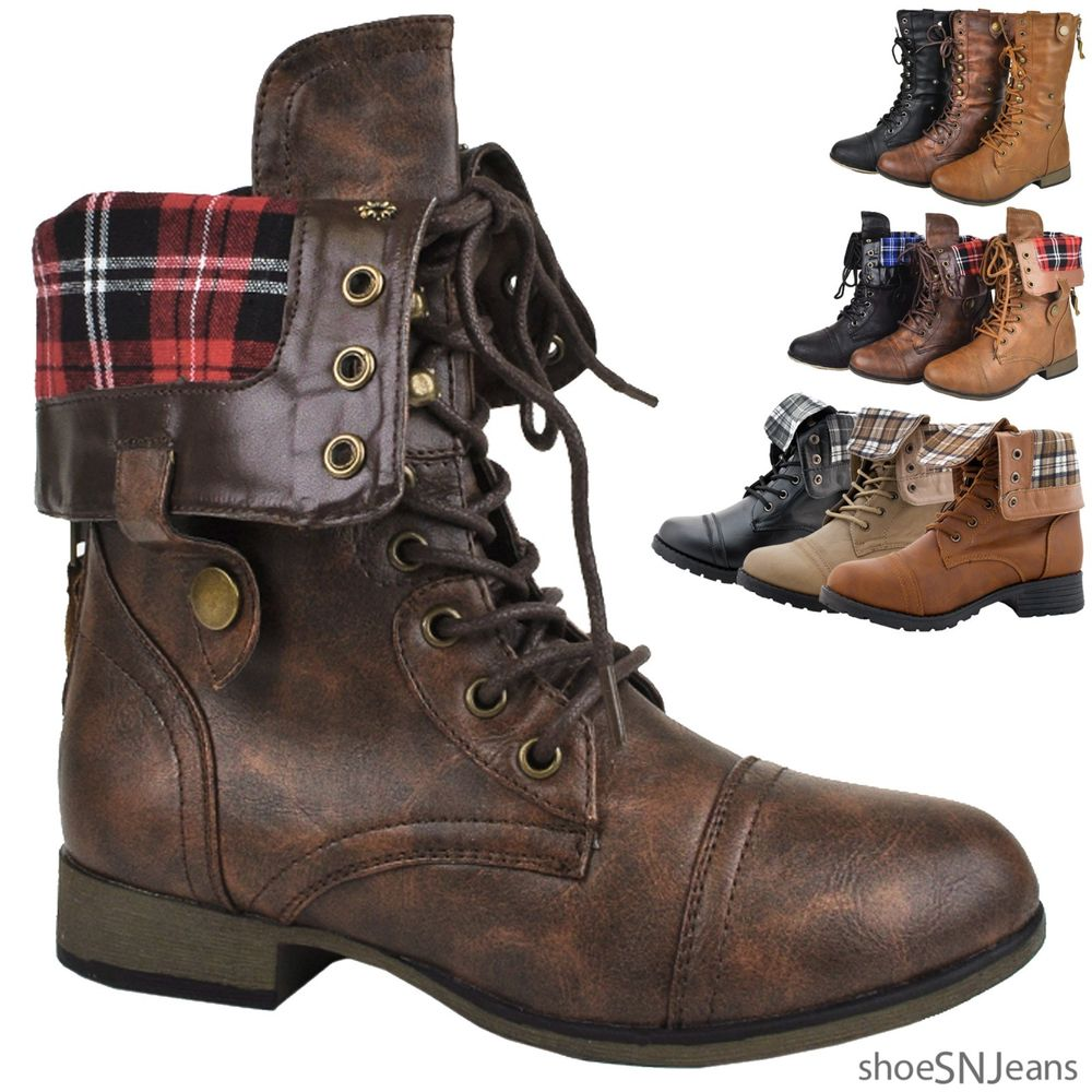 Brown Fold Over Combat Boots veW9rXp7