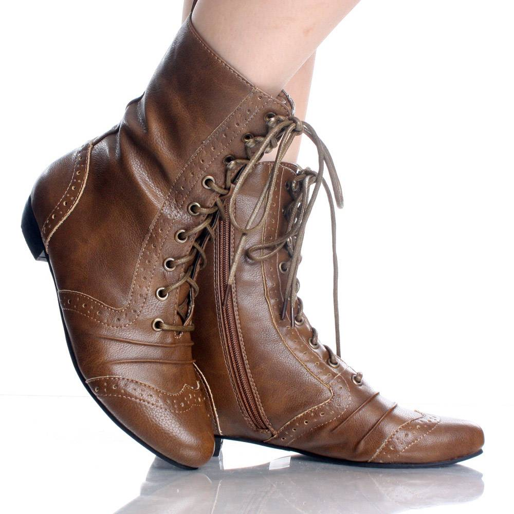 Brown Lace Up Ankle Boots frs2y58D