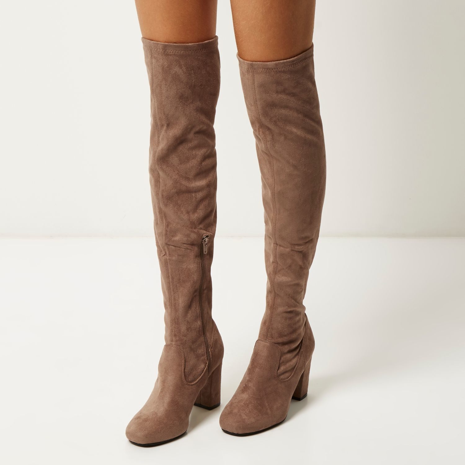 Brown Suede Over The Knee Boots mLkkeEJ8