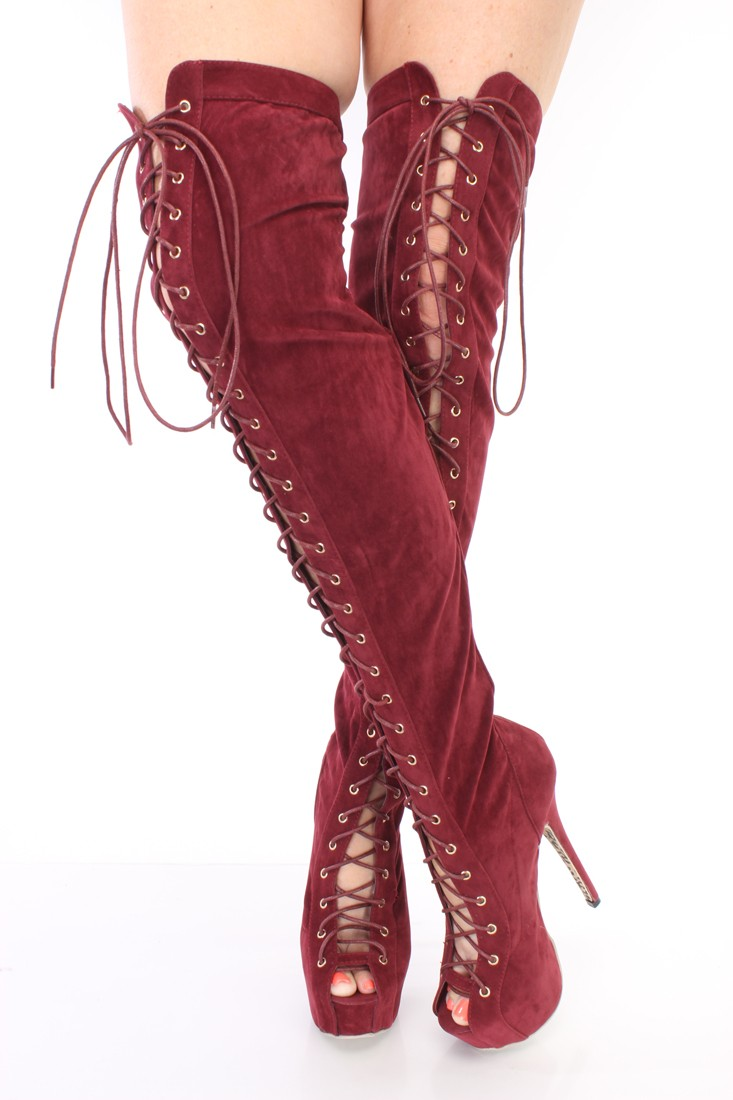 Burgundy Thigh High Boots ZnIZ8cqU