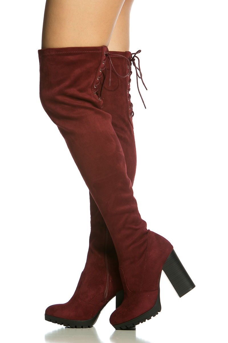 Burgundy Thigh High Boots UIXdcfK0