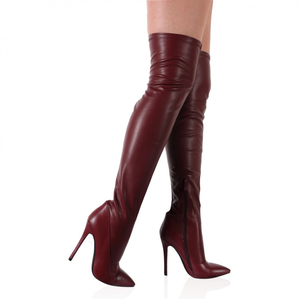 Burgundy Thigh High Boots 2srE5fNU