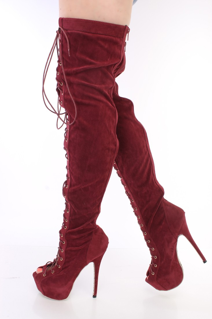 Burgundy Thigh High Boots 5BuFII1t