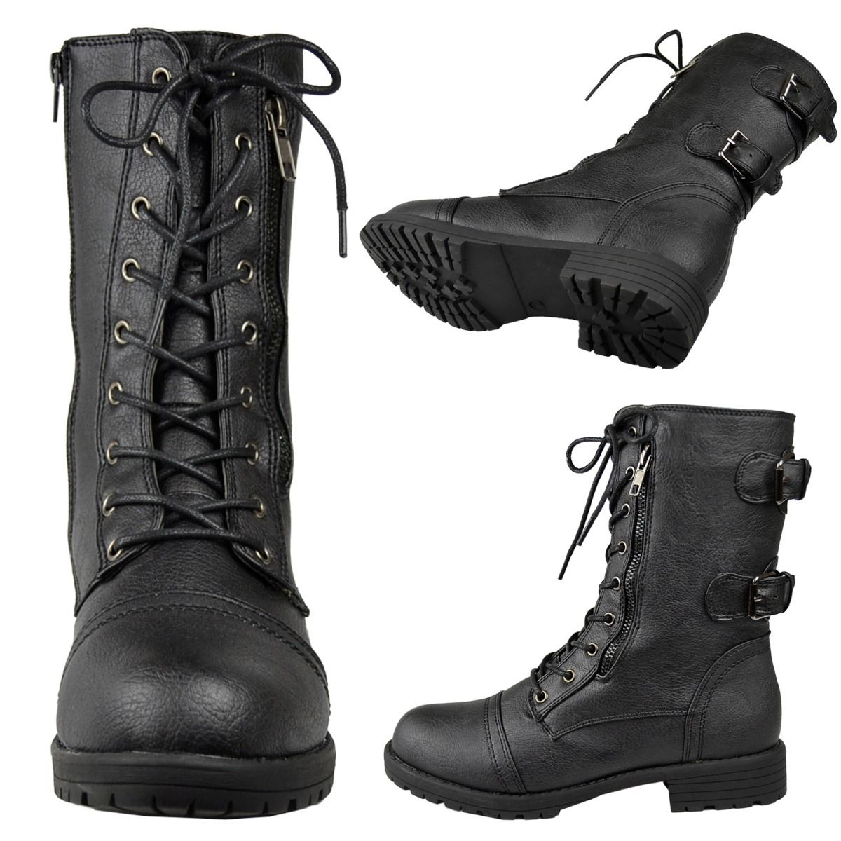 Amazing  Rag Zoe Womens Faux Leather Black Military Amp Combat Boots Boots