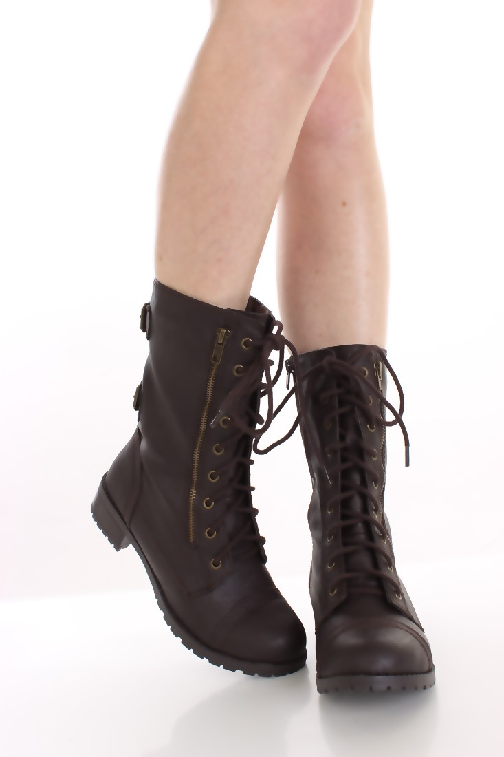 Dark Brown Combat Boots FitAReB8