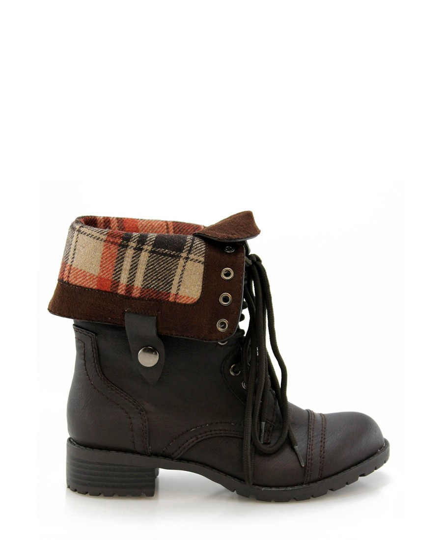 Dark Brown Combat Boots InPhJk28