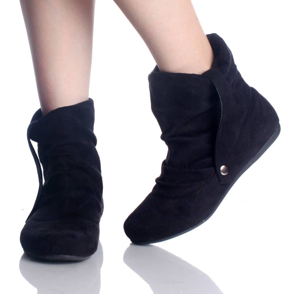 Creative Hang Out Womens Pu Flat Ankle Boots Black Code 94207 Flat Ankle Boot