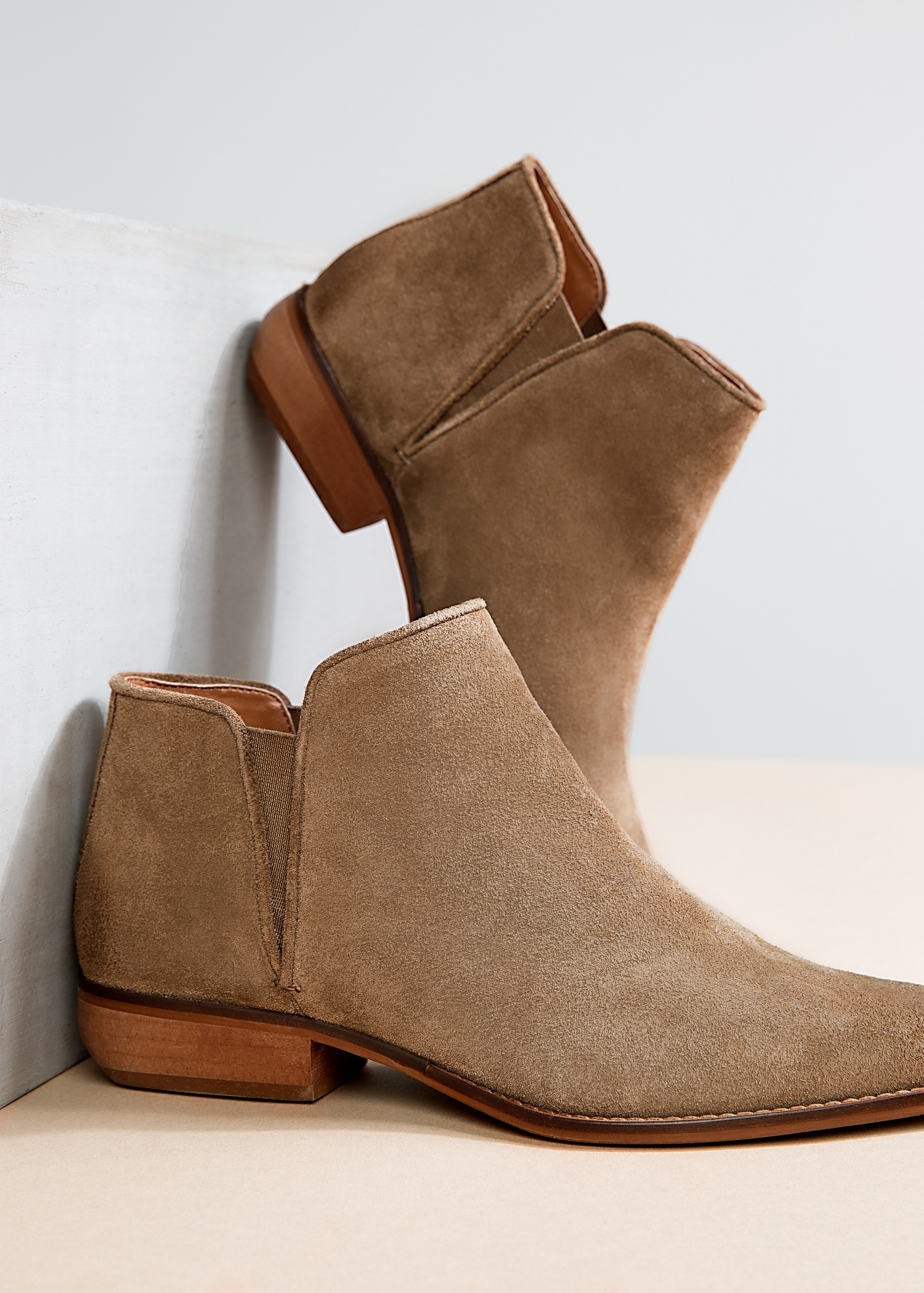 Short Suede Ankle Boots Tsaa Heel