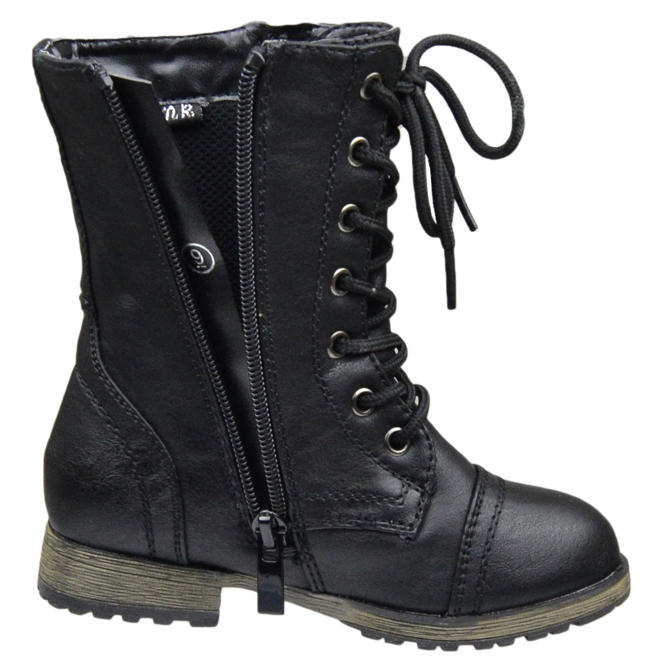 Girls Black Combat Boots zC3wG0Lx