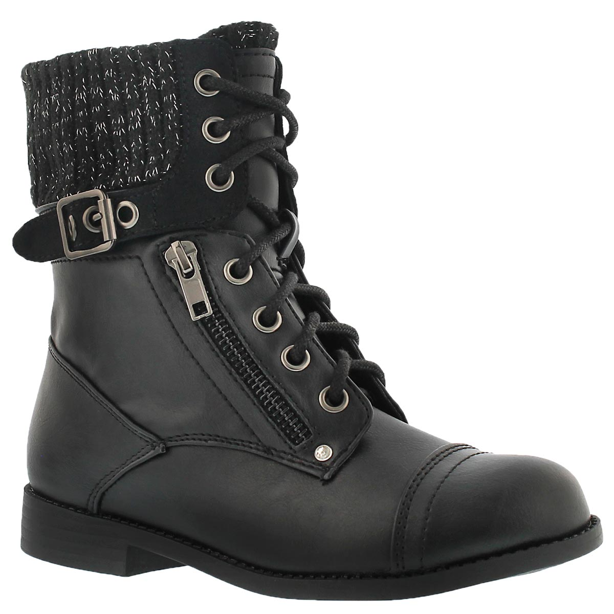 Girls Black Combat Boots KRZxGlQ4