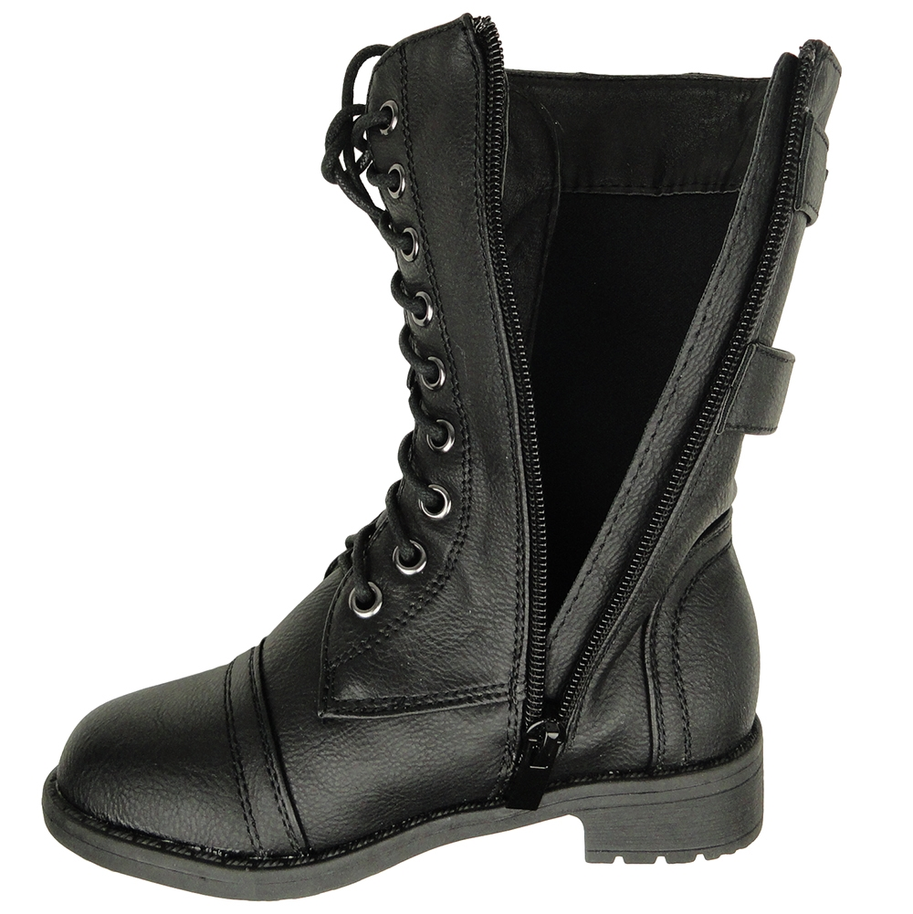 Girls Black Combat Boots H56BOuFX