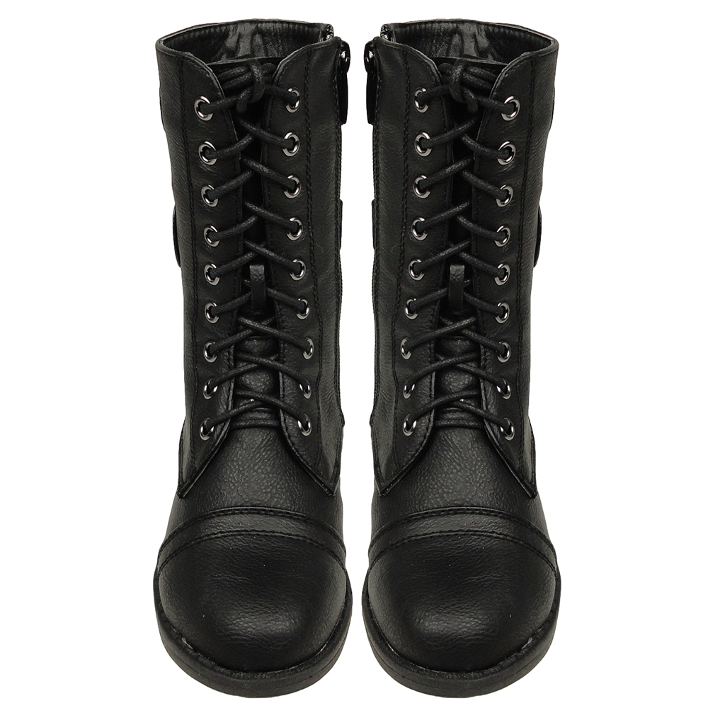 Girls Black Combat Boots 4kYmwk6Q