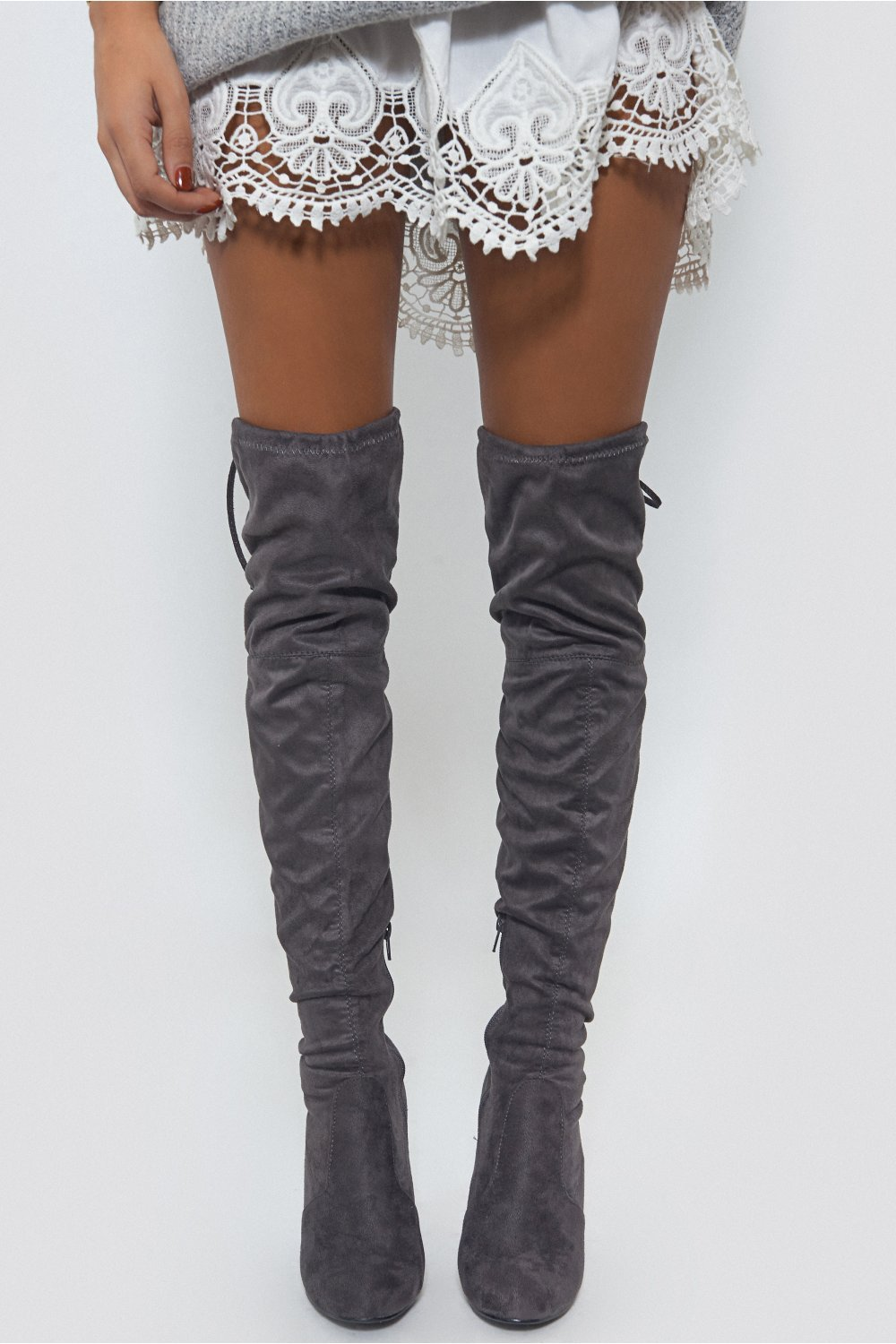 Gray Suede Over The Knee Boots uEgsaKyr