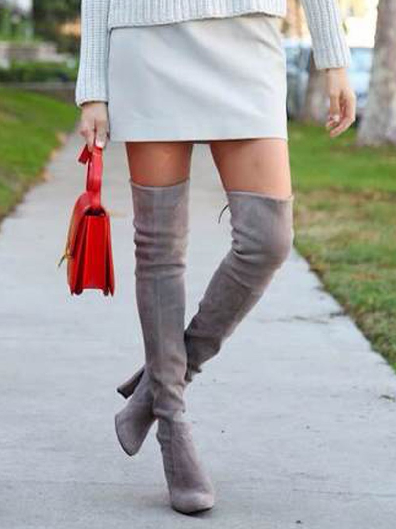 Gray Suede Over The Knee Boots lzlsXAIJ