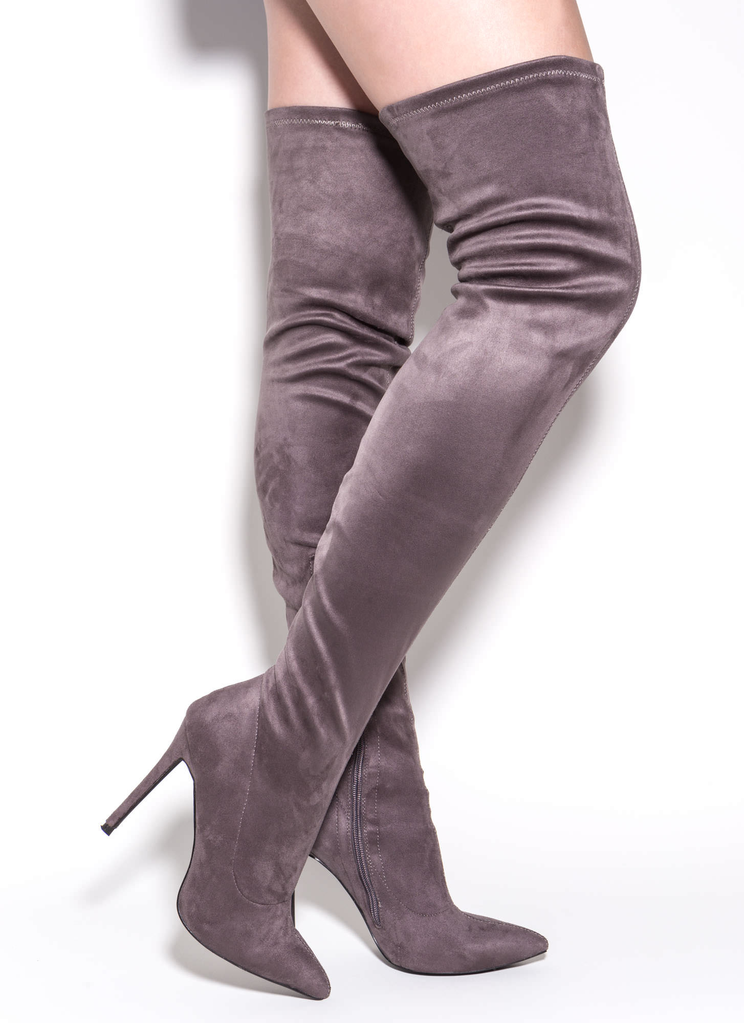Gray Thigh High Boots YtCiK5PG