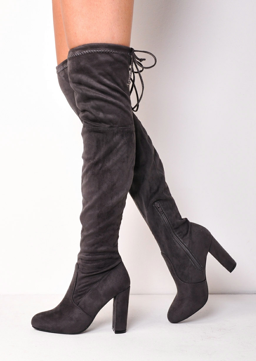 Grey Suede Thigh High Boots QWV5ctLW