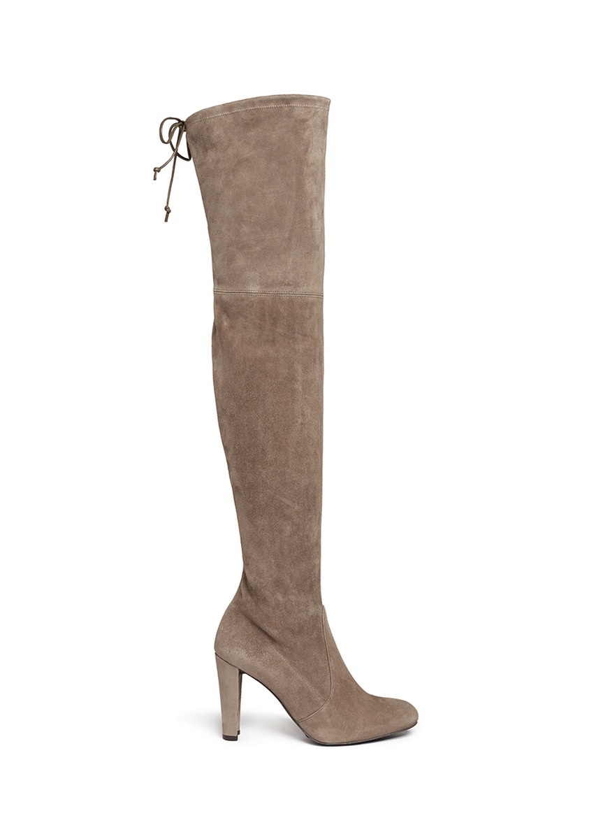 Grey Suede Thigh High Boots 62IUQAxg