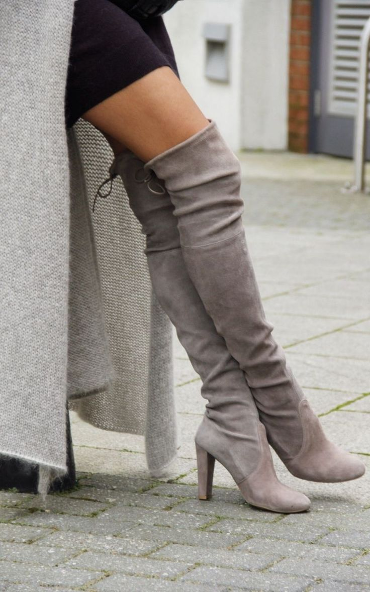 Grey Suede Thigh High Boots UyHPkwmU