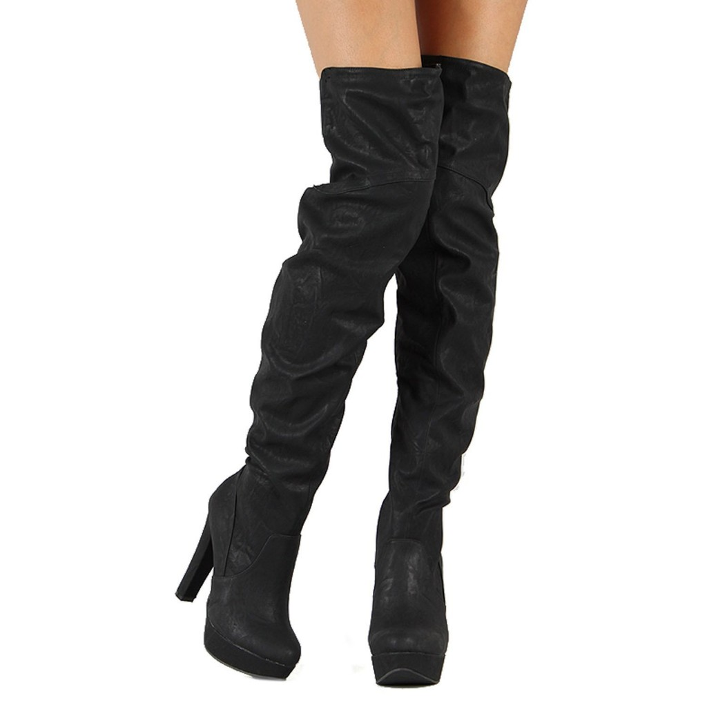 Over The Knee Boots Black KYlFXamc