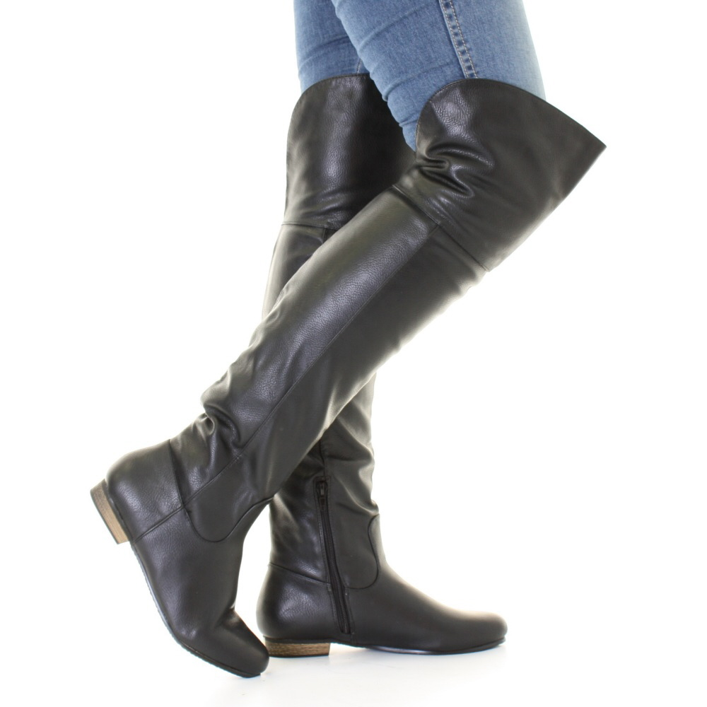 Over The Knee Flat Black Boots uuKIGfBZ
