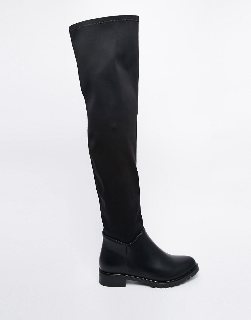 Over The Knee Flat Black Boots pb6Tqs9g