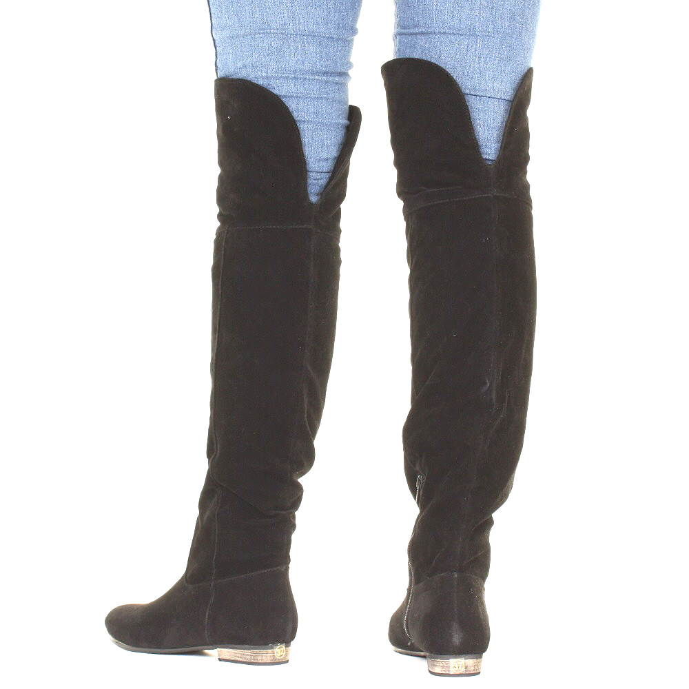Over The Knee Flat Black Boots j2aap453