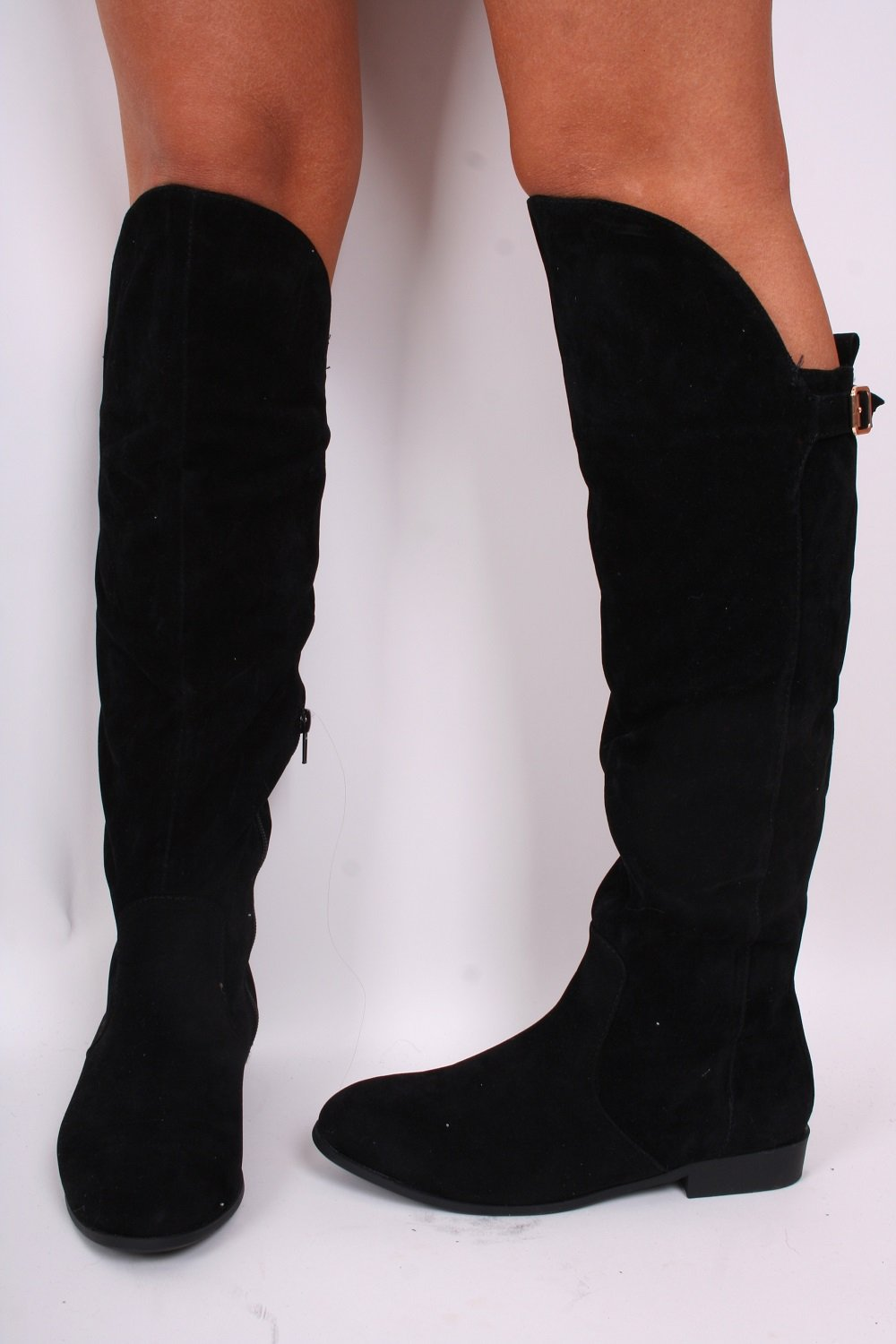 Over The Knee Flat Black Boots 3IATWlo1