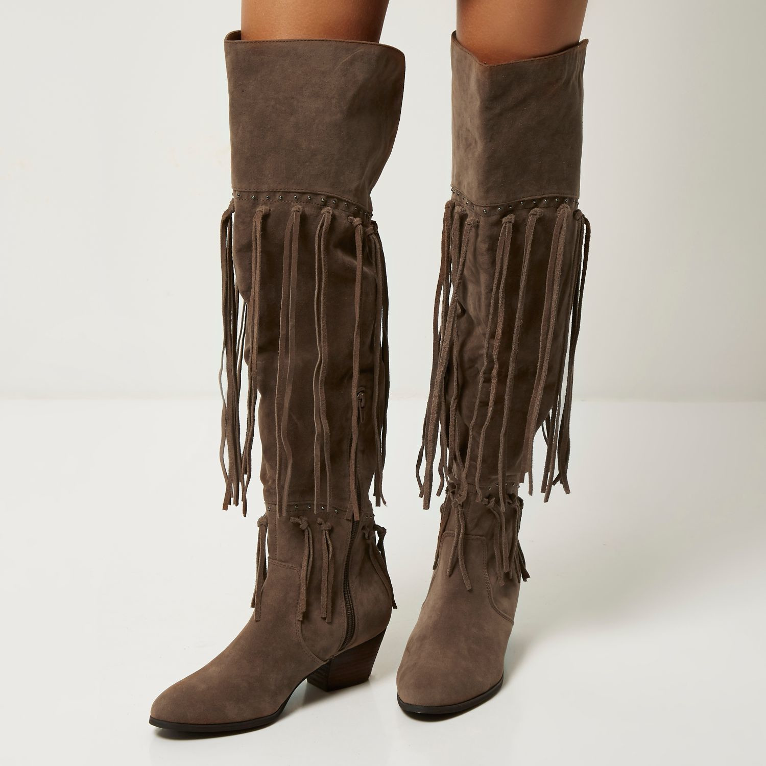 Over The Knee Fringe Boots Xve1Nk3u
