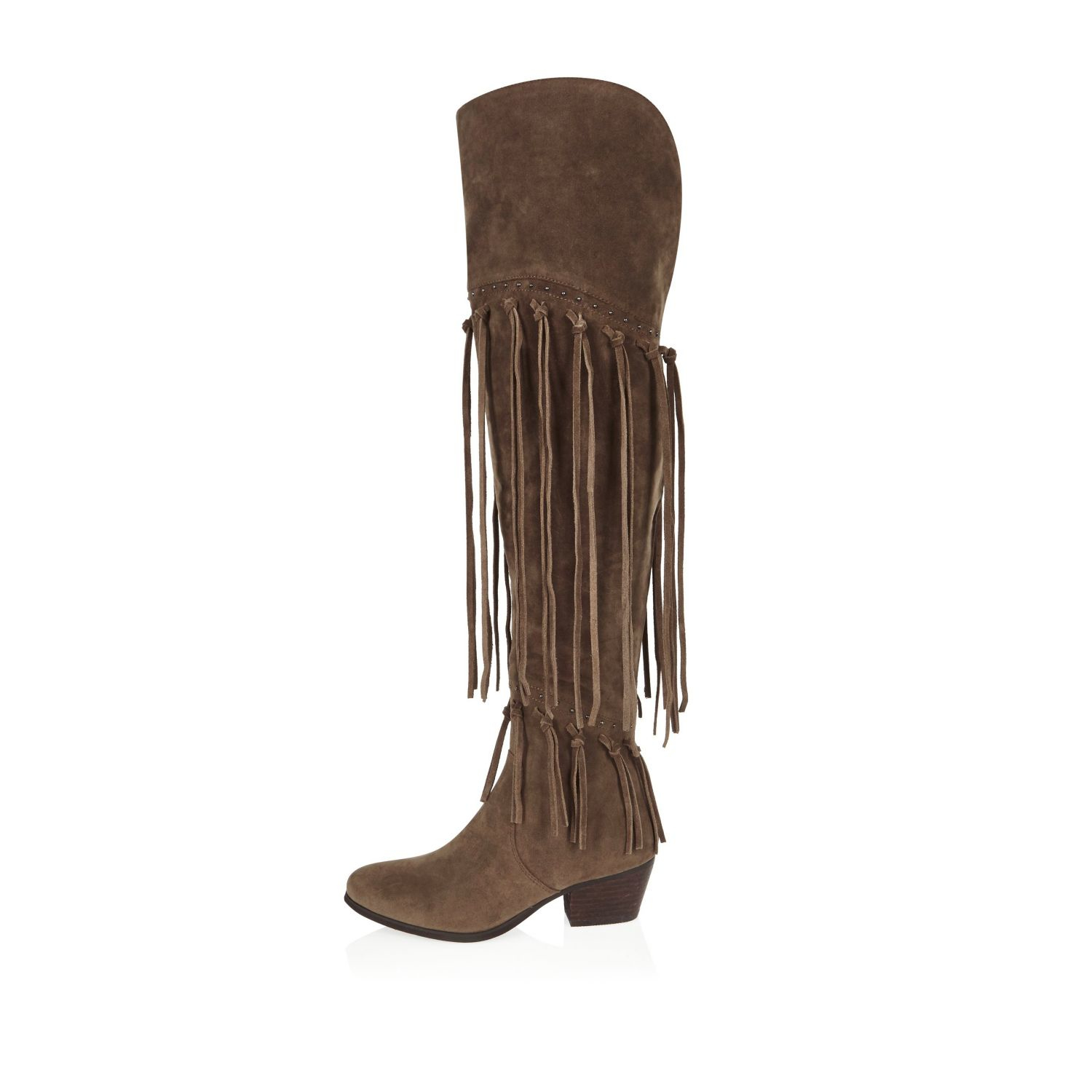 Over The Knee Fringe Boots nhmKMEEr