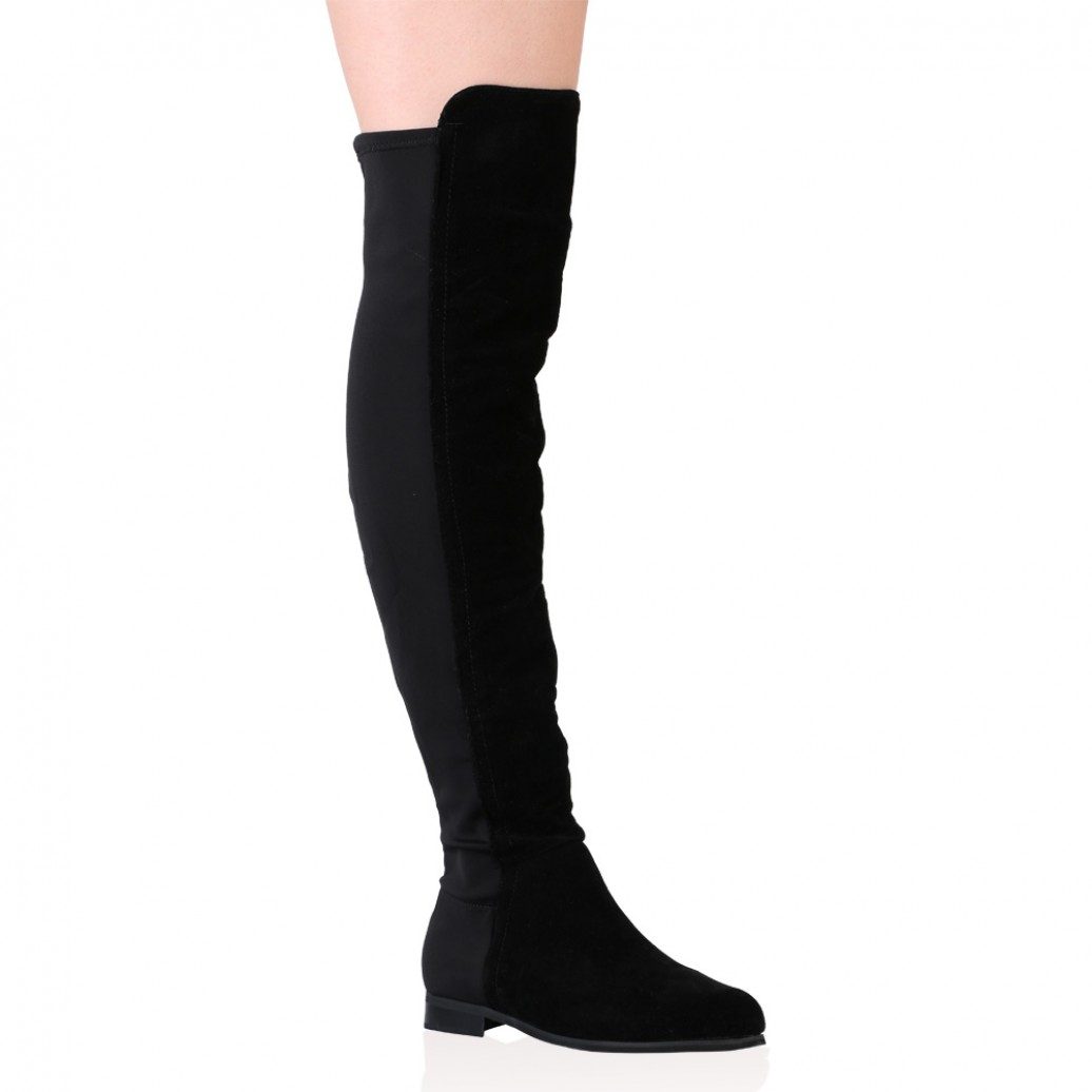 Over The Knee Suede Black Boots Lmn6MW5f