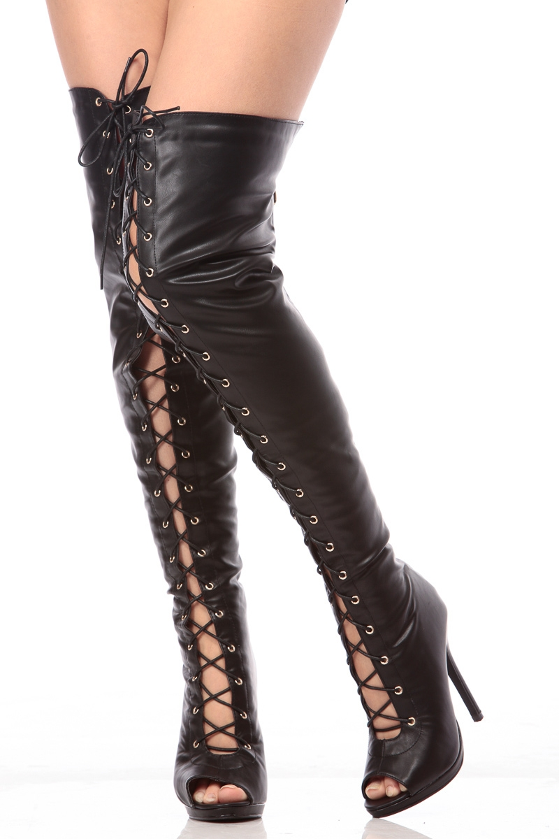 Peep Toe Thigh High Boots dbNI7fS9